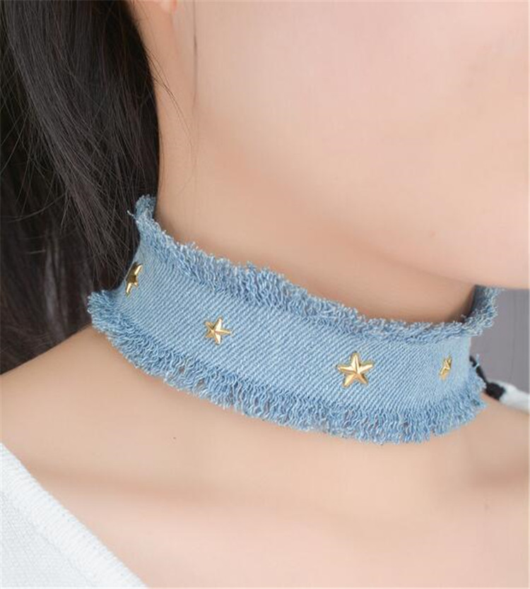 Punk Denim Choker Necklace for Women Stars Decors Fashion Neck Accessories