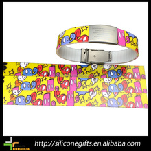 Printed or Laser Engrave Logo Silicone Sport Bracelet with metal Buckle and Clasp