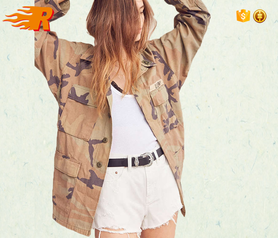 Wholesale Women Washed Longline Camo Army Denim Jacket