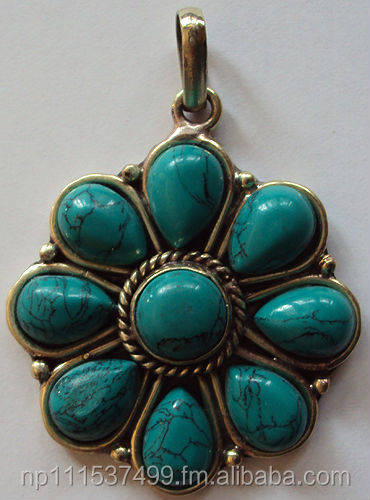 Red Coral and Turquoise Pendant Costume Handmade Jewellery