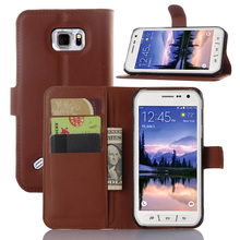 wallet litchi grain pu leather phone case for Samsung galaxy s6 active