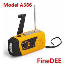 FineDEE 1 Watt Super High Brightness Torch Hand Crank Solar Powered Emergency Radio