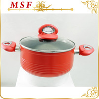 new stripe looking design aluminum casserole cookware with nonstick marble coating inside