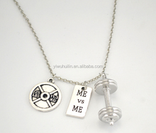 Round Disc 11.3KG Me Vs Me Silver Plated Crossfit Bodybuilding Dumbbell Barbell <strong>Necklace</strong>