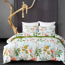 Yellow Flowers and Green Leaves Floral Garden Pattern Printed 100% Polyester Duvet Cover <strong>Set</strong>