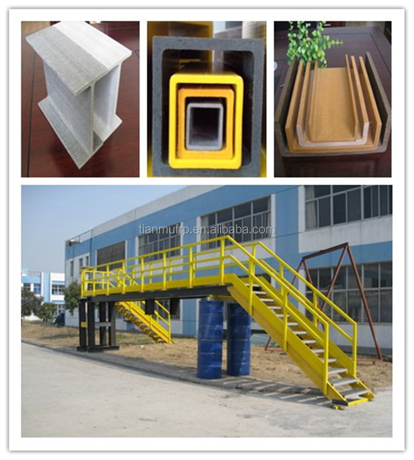 Pultrusion C shape FRP Channel/GRP structural profiles channel beams