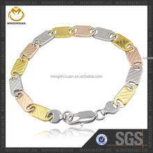 High-end quality three tones stainless steel jewelry,best selling trendy bracelet 2014