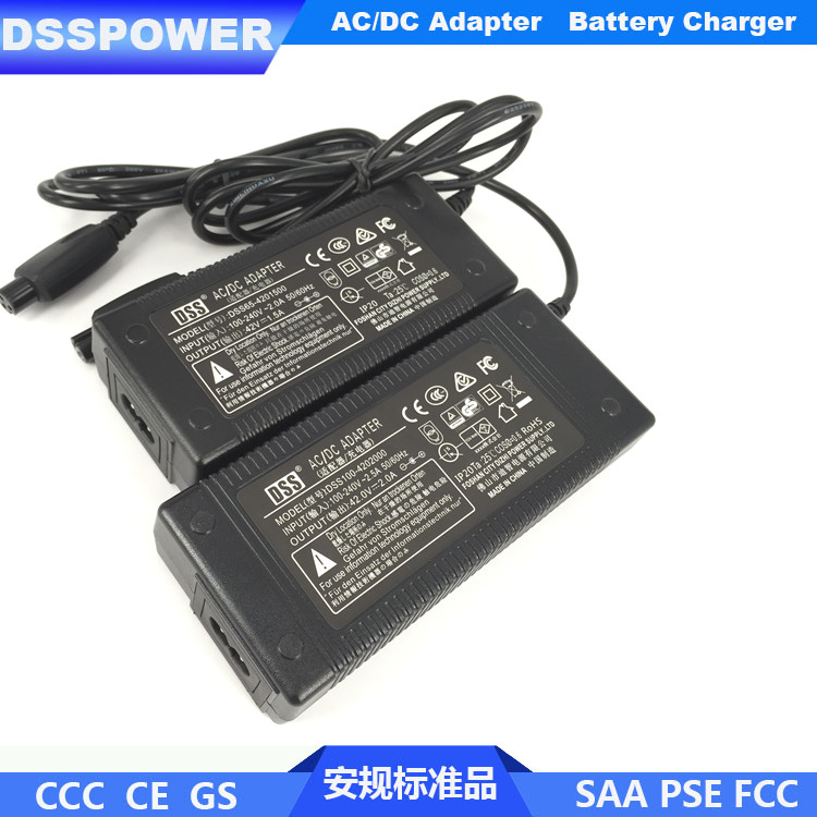 CE GS approval 42V 2A Lithium Ion Battery Charger for Electric Scooter
