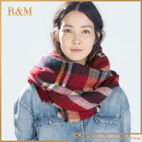 Beautiful New fashion plaid cashmere scarf for women blanket scarf with tassel winter warm shawl