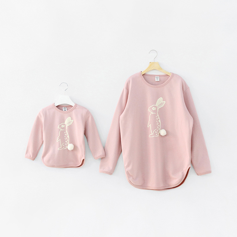 In stock family look winter clothing cute bunny cotton printing matching father mother and daughter son outfits clothes