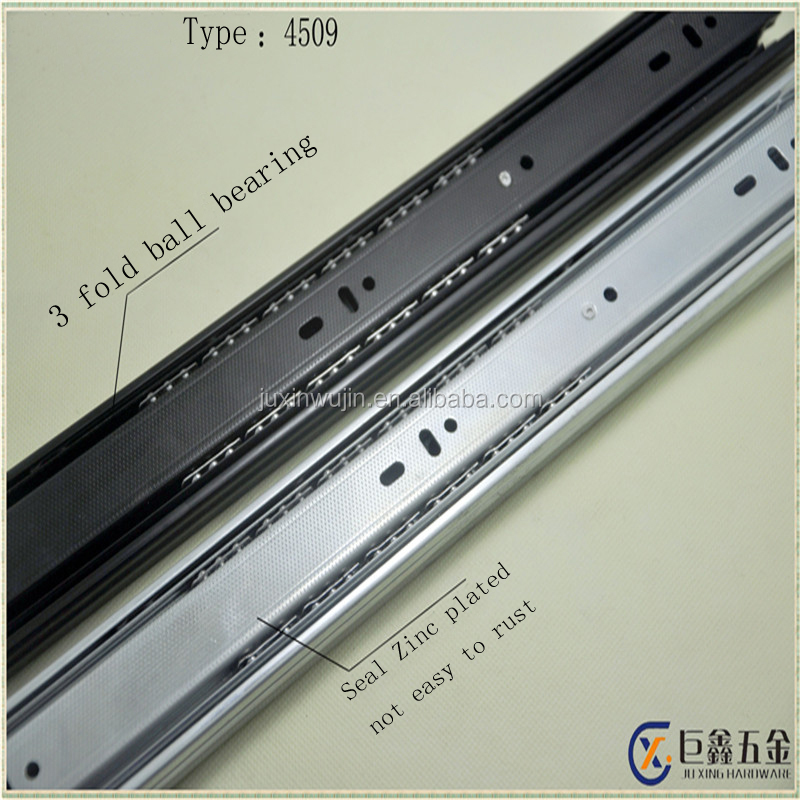 42mm width 3 fold ball bearing telescopic channel funiture slide for drawer/cabinet