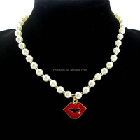 Pearl Beads Chain With Red Lips Pendant Necklace