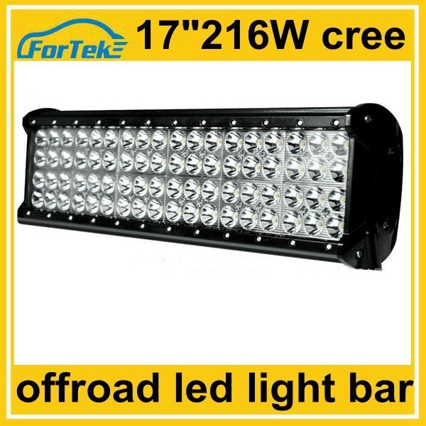 17 inch cree led light spot bar off road 216w quad row for marine, mining, boat, snowmobile