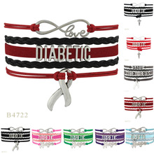 New Design Multicolor Hope Cure Diabetes Ribbon Hope Charm Wrap Bracelets For Women Men