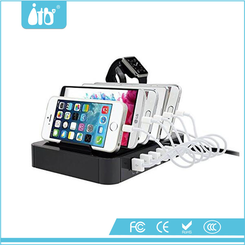 ITB-SK06 6-Port USB Charging Station Desktop Charging Stand Organizer for Smart Phones and Tablets