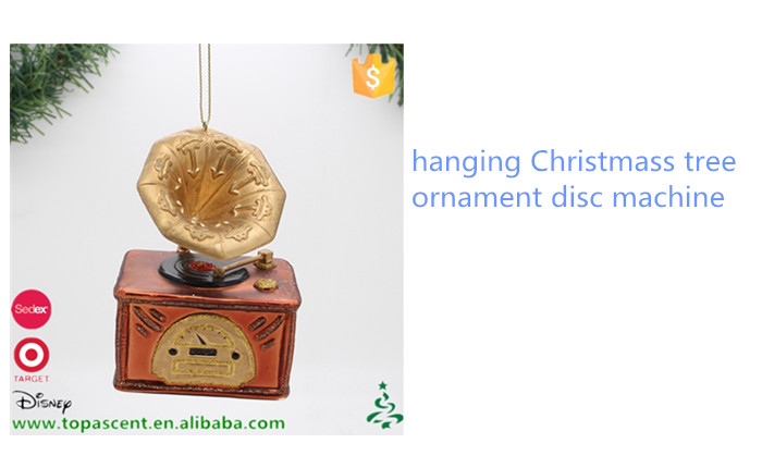 free sample glass hanging ornament musical equipment disc machine