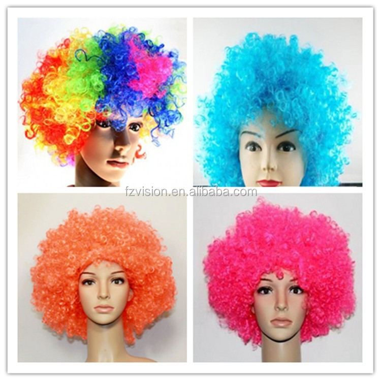 Wholesale <strong>PP</strong> 130g different colors fancy costumes sports fan explosion wig