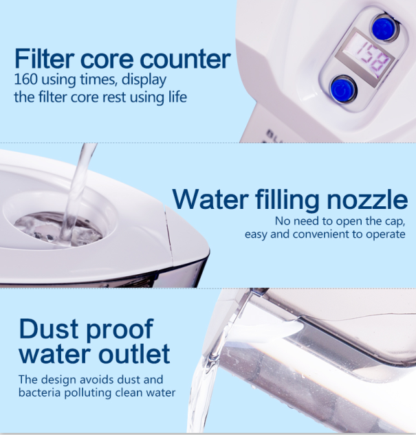 UV Disinfection Water Filter Pitcher UV lamp active carbon Cartridge