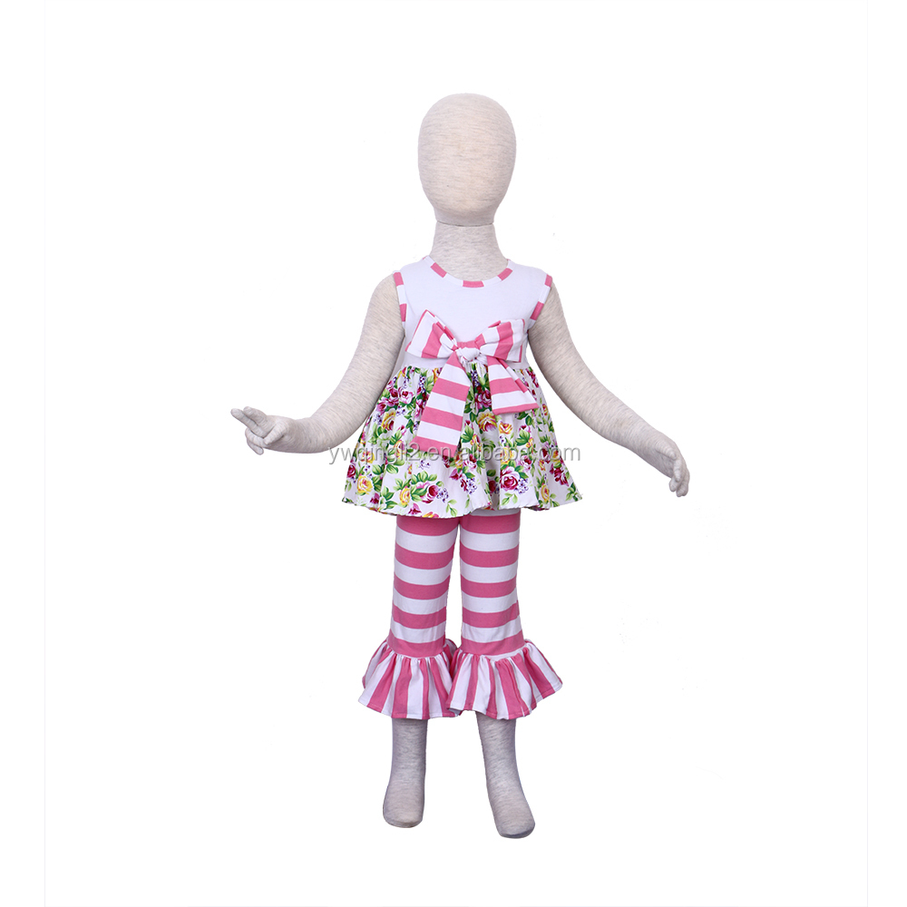 2015 baby girls dress suit sleeveless and big bowknot flower dress and wide stripe ruffles pants girls clothing set YW-012