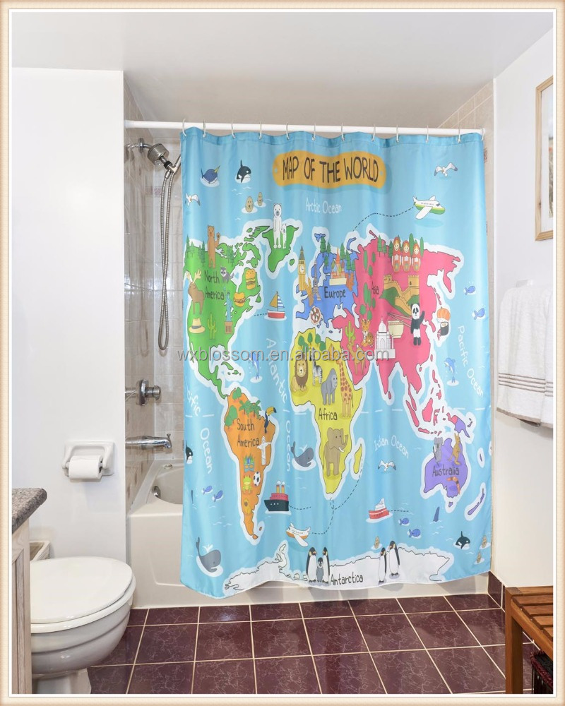 World map digital printing houseware bath shower curtain