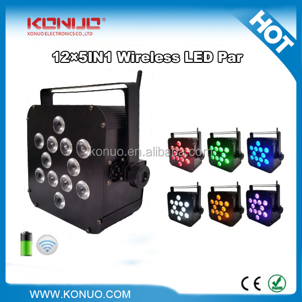12x18w 6in1 rgbwauv flat slim par wireless dmx battery powered stage lights for auditorium