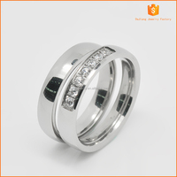 Simple and fashion of 361L stainless steel cz diamond wedding ring