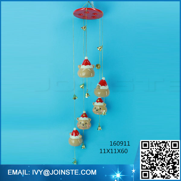 Decorative pottery enamel crafts Christmas ceramic outdoor wind chime animal wind-bell