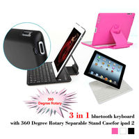 3 in 1 bluetooth keyboard Case with 360 Degree Rotary Separable Stand for ipad 2,black
