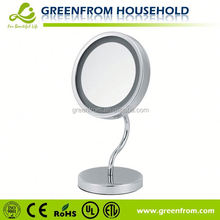 Chrome metal table style shaving mirror with light battery