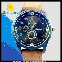 WJ-4485 Personality vogue three small dials decoration SBAO men PU leather wrist watches