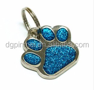 Custom Charming Glitter Paw dog tag/Pet tag with Qr code