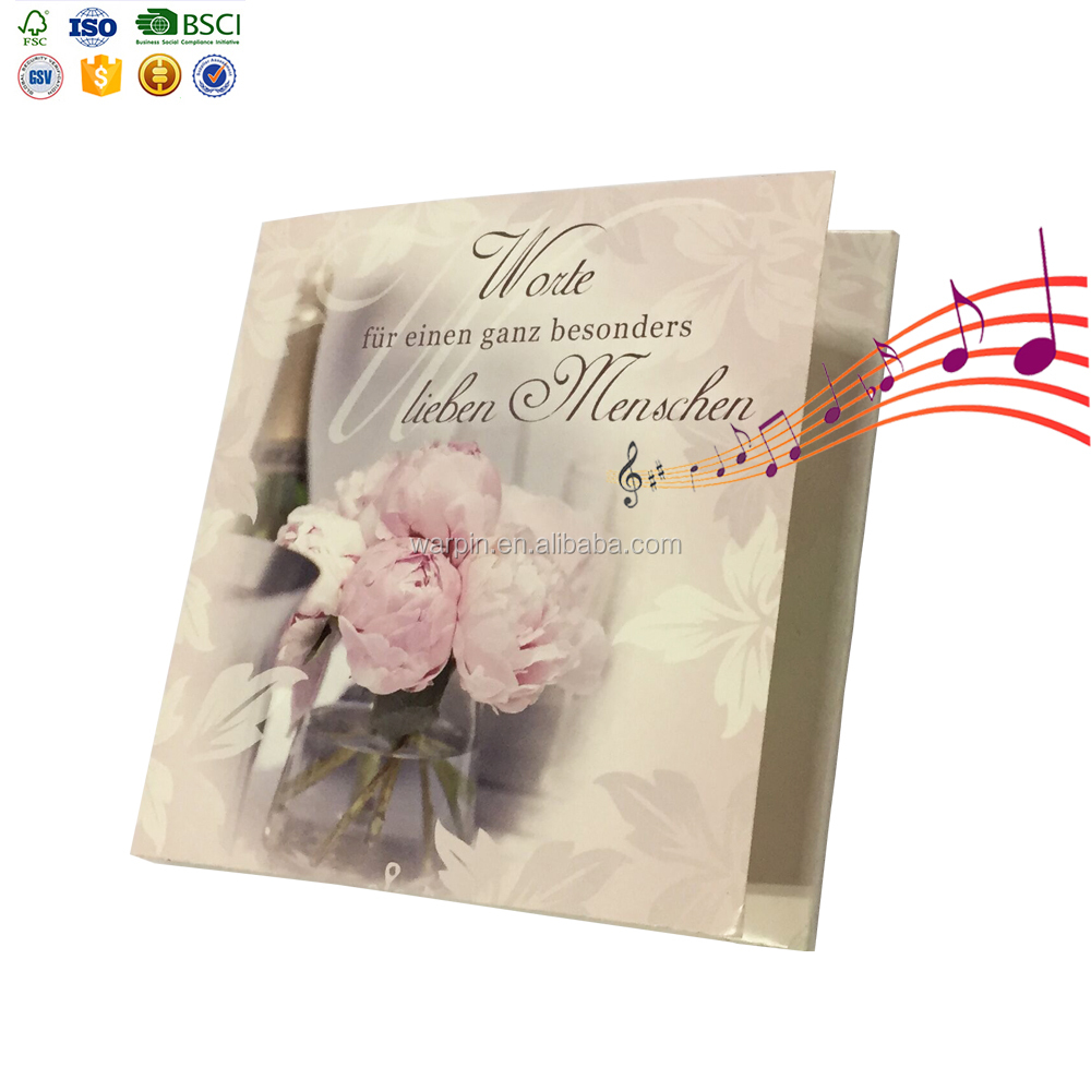 OEM wholesale lovely floral led wedding invitation card greeting type