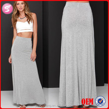 2015 New Arrival Spring Grey Ladies Long Cotton Maxi Skirt