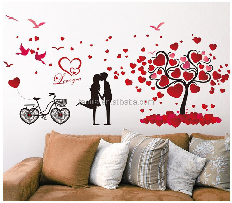 2016 news designs of removable Eco-friendly PVC bedroom children's room love tree flowers wall stickers for decoration