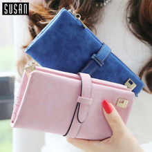 Susan' 2016 HOT !! Women Ladies Female Long Matte PU Leather Hasp Clutch Wallets Coin Purses Card Holder Handbag Monedero