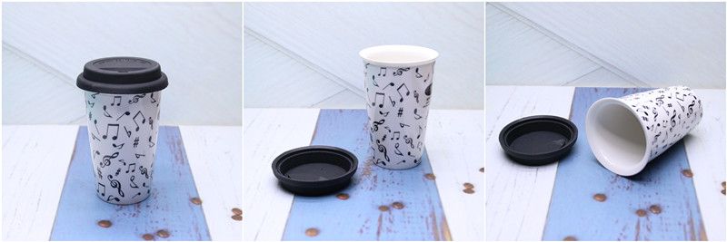 Double Wall Ceramic Mug with Silicon Lid