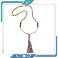 2016 Wholesale Wood Beads Dyed Turquoise Dyed Jade Necklace Tassel Wooden Bead Necklaces