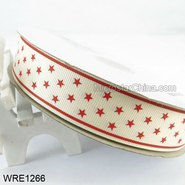 White Ground Red Star Colorful Double Printed Grosgrain Ribbon