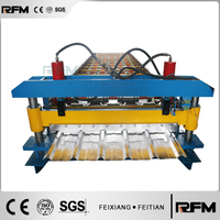 2015 Feitian Reversed Trapezoidal Roof Tile Metal Roll Forming Machine with Preceding Cutter