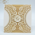 MR092 Cusotm Letters New Arrival Lace Pattern Fold Card Laser Cut Wedding Invitation Card