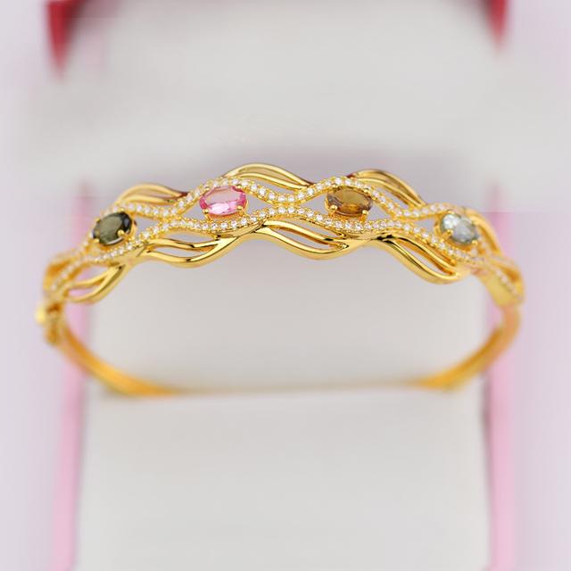 100% Genuine 925 Silver Bracelet 18K Gold Plated Bangle Saudi Arabia Jewelry Wholesale