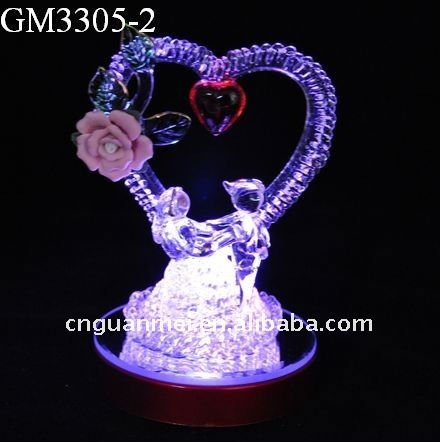 glass valentine day heart gifts with rainbow changing color