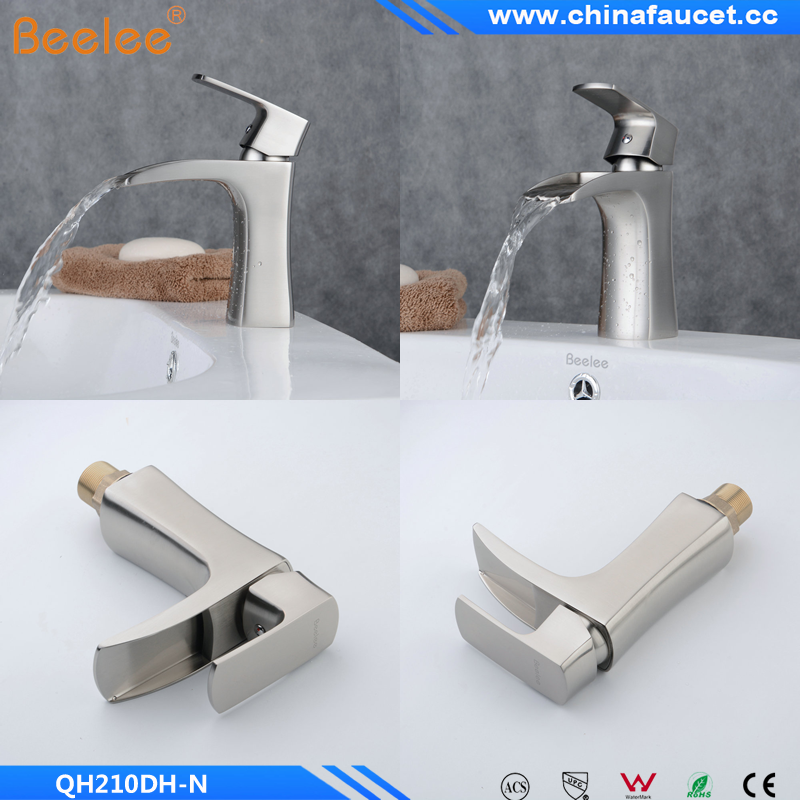 Nickel Brushed Deck Mounted Single Handle Single Hole Bathroom Waterfall Basin Mixer