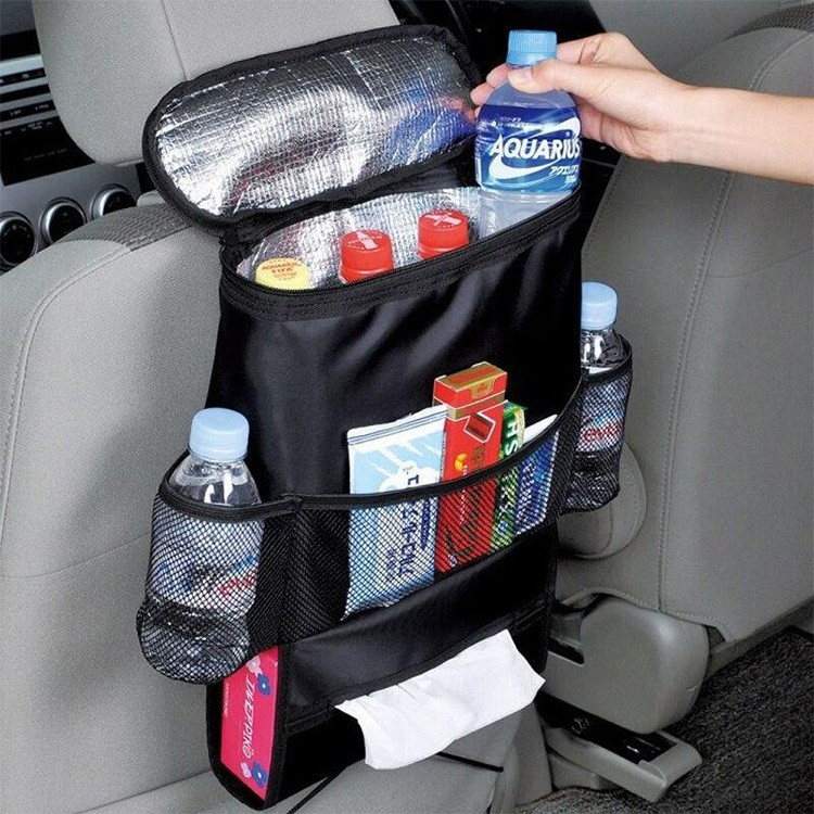 Multi-Pocket Travel Storage Insulated Car Seat Back Drink Holder Cooler Bag with Mesh Pockets