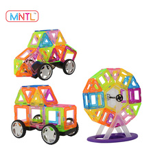MNTL 62-Piece Magnetic Tiles Toys Crystal Plastic Building Blocks DIY Toy Kit