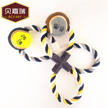 Hot sell <strong>pet</strong> 8 rope cotton chew toy with tennis ball