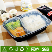 PP disposable plastic food container 2 compartment meal prep containers