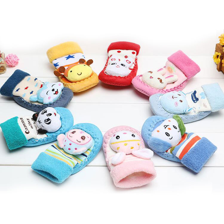 Comfortable cotton terry floor children stockings cartoon animal baby toddler warm floor leather shoes socks for new walkers