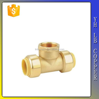 LBA007 Double Tee Joint Brass pipe fitting Tee Push fit combination Reducer Tee Cross 16mm 20m