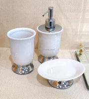 European style elegent white ceramic bathroom accessories set